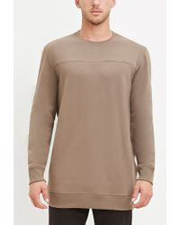 Forever 21 | Natural Longline Fleece Sweatshirt for Men | Lyst