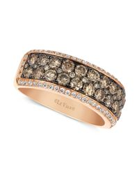 Le Vian - Brown Chocolate And White Diamond 2-row Band (1-1/2 Ct. T.w.) In 14k Rose Gold - Lyst