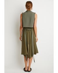 Forever 21 - Green Drapey Longline Belted Vest - Lyst