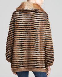 Maximilian - Natural Muskrat Fur Poncho With Rex Rabbit Inserts - Lyst