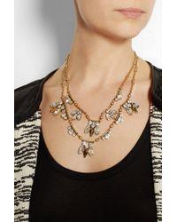 J.Crew - Metallic Tiered Regalia Goldplated Cubic Zirconia Necklace - Lyst