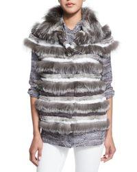 Tory Burch | Gray Short Sleeve Fur Jacket | Lyst