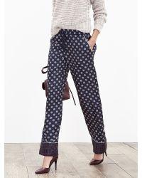 Banana Republic | Blue Foulard Silk Wide-leg Pant | Lyst