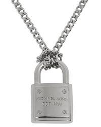 Michael Kors | Metallic Silver Tone Padlock Necklace | Lyst