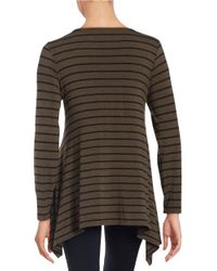Vince Camuto - Brown Pin Striped Jersey Boatneck Top - Lyst