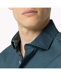 Tommy Hilfiger | Blue Stretch Cotton Fitted Shirt for Men | Lyst