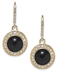Carolee | Gold-Tone Black Button Drop Earrings | Lyst