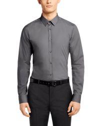 HUGO | Gray Slim-Fit Shirt In Cotton Blend: 'Elisha' for Men | Lyst