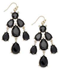 INC International Concepts - Black Gold-Tone Jet Stone Chandelier Earrings - Lyst