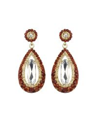Mikey - Brown Oval Design Multi Crystals Drop Earring - Lyst