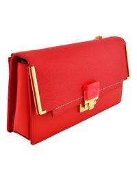 Lanvin Red Partition Clutch Bag
