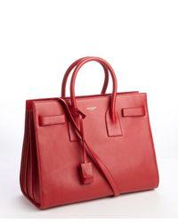 Saint Laurent | Red Calfskin Small Sac De Jour Bag | Lyst