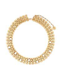 Ela Stone Metallic 'nicole' Stone Embellished Block Chain Necklace