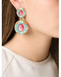 Moschino | Blue Flower Motif Pendant Earrings | Lyst