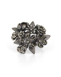 BCBGMAXAZRIA - Gray Floral Ring - Lyst