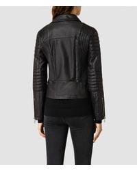 AllSaints - Black Alder Leather Biker Jacket Usa Usa - Lyst