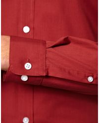 ASOS - Red Smart Shirt with Button Down Collar for Men - Lyst
