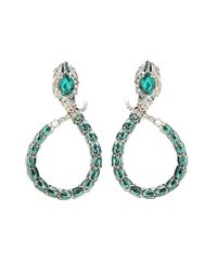 Roberto Cavalli - Green Embellished Clip-on Earrings - Lyst