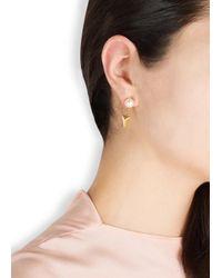 Joomi Lim | Metallic 16Kt Gold-Dipped Swarovski Faux Pearl Earrings | Lyst