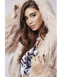 TOPSHOP - Pink Faux Fur Hooded Coat By Kendall + Kylie At - Lyst