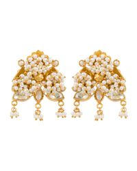 Kastur Jewels | Metallic Heritage Pearl |& Crystal Earrings | Lyst