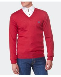 Vivienne Westwood - Red Orb V-Neck Sweater for Men - Lyst