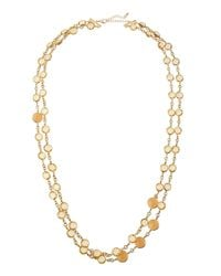 Fragments - Metallic Golden Double-strand Crystal Station Necklace - Lyst