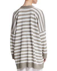 Eskandar - White Striped Linen V-neck Cardigan - Lyst