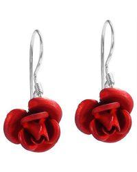 Aeravida | Blooming Red Rose .925 Silver Dangle Earrings | Lyst