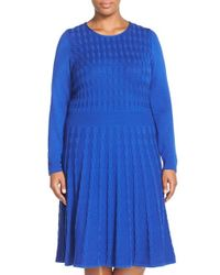 Eliza J | Blue Cable Knit A-line Dress | Lyst