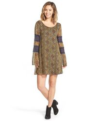 Volcom Brown Print Lace Detail Shift Dress