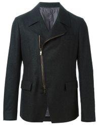 Z Zegna - Gray Off Centre Zip Blazer for Men - Lyst