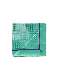 Canali Green Silk Satin Pocket Square for men