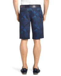 BOSS Green Blue 'Lomeo Print-W' | Slim Fit, Stretch Cotton Shorts for men