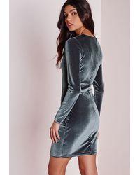 Missguided Gray Velvet Long Sleeve Bodycon Dress Grey