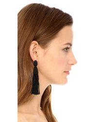 Oscar de la Renta Black Classic Long Tassel Earrings