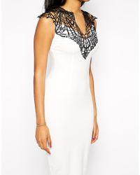 AX Paris - Black Crochet Neck Bodycon Dress - Lyst