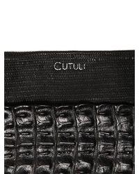 Cutuli Cult - Black Small Croc & Laser-cut Leather Pouch - Lyst