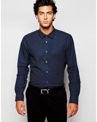 Ted Baker Blue All Over Circle Print In Slim Fit for men