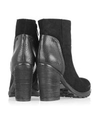 Sam Edelman Black Franklin Suede And Leather Ankle Boots