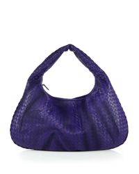 Bottega Veneta - Blue Embroidered Intrecciato Leather Hobo Bag - Lyst