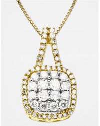 Lord & Taylor | Metallic 14 Kt. Gold Diamond Square Pendant Necklace | Lyst