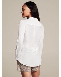 Banana Republic White Heritage Silk Roll-Sleeve Utility Blouse