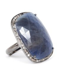 Adornia | Blue Gemstone And Champagne Diamond Charles Ring | Lyst