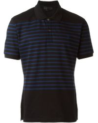 Alexander McQueen - Black Striped Polo Shirt for Men - Lyst