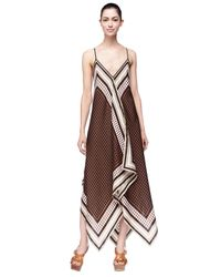Michael Kors - Brown Michael Printed Sleeveless Scarf Dress - Lyst