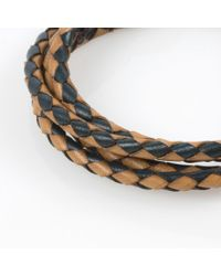 Paul Smith - Blue Men's Taupe And Green Leather Wrap Bracelet for Men - Lyst