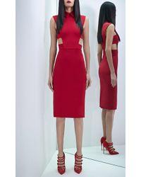 Cushnie et Ochs - Red Power Stretch Viscose Dress With Cutouts - Lyst