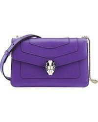 BVLGARI Purple Serpenti Forever Hobo Calf Leather Crossbody Bag - For Women