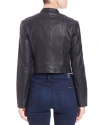 Guess | Black Cropped Faux Leather Jacket | Lyst